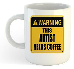 Warning-Esta-Artista-Necesita-Cafe-Blanco-Taza-Regalo-Trabajo-Regalo