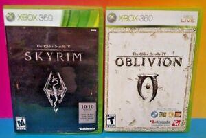 Elder-Scrolls-IV-V-Oblivion-Skyrim-XBOX-360-2-GAME-Lot-Tested-Complete