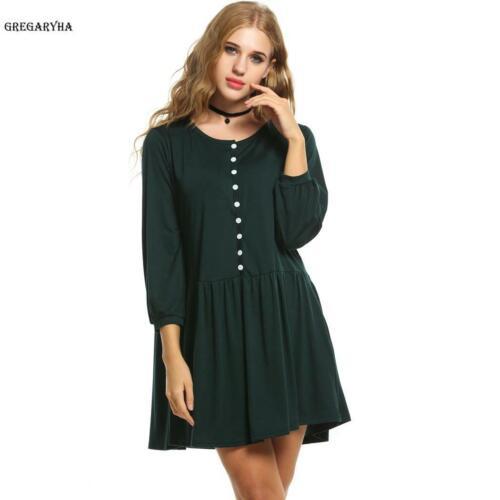 Damen Beiläufige Langarm Knopf Lose Faltenkleid Kleid mit Taschen GRHA