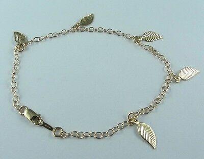 Gold Leaf Bracelet Chain 14k Gold Filled Stamped