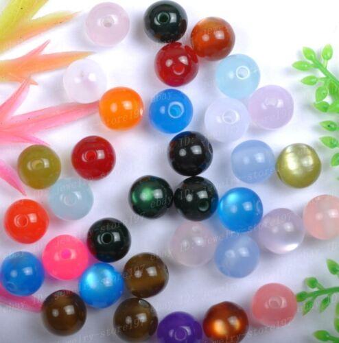 100pcs  Mixed color Acrylic cat/'s eye Loose Charm beads 8MM JK1060