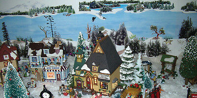dept 56 snow Christmas village background; model train