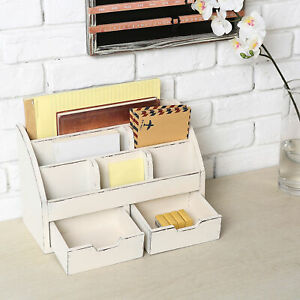 Vintage White Wood Desk Organizer 6 Compartment 2 Drawer Office