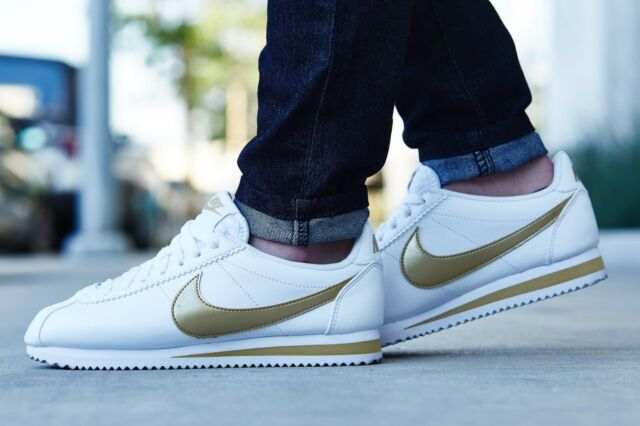 half off 6eef7 6925a Nike Classic Cortez Leather White Metallic Gold 807471-106 Wmn Sz 10.5
