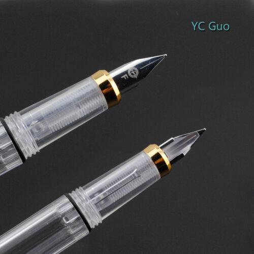 Wing Sung 3008 Transparent Fountain Pen Golden Version Extra Fine Nib 4 Colors