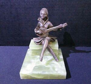 Antique J.B. Hirsch Gerdago Pixie Lady Playing Banjo Marble Book End, Bronze