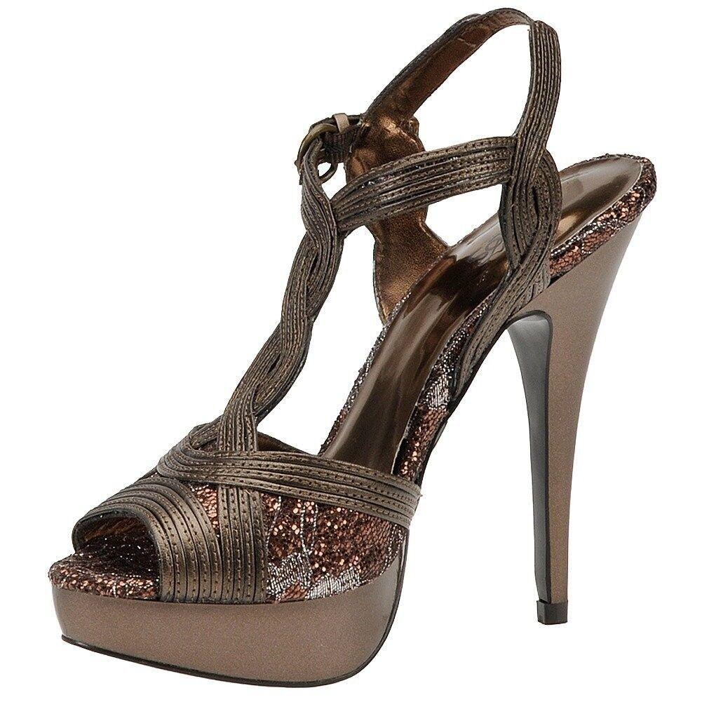 Carlos Santana VIENNA Bronze Glitter T-Strap Platform Heels, 8M 8M 8M - MSRP  98 c47653
