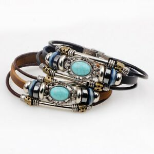 Vintage-Turquoise-Leather-Handmade-Punk-Bracelet-Multilayer-Men-Bangle-Jewelry