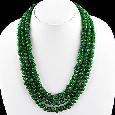 800.50 CTS EARTH MINED RICH GREEN EMERALD 4 LINE ROUND SHAPED BEADS NECKLACE