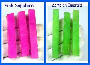360 Ct 6 Pcs Lot Natural Pink Sapphire & Zambian Emerald Gemstone Slice Rough