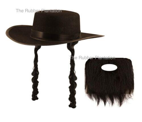 JEWISH RABBI FANCY DRESS HAT WITH SIDEBURNS BLACK BEARD GLASSES MENS ACCESSORIES