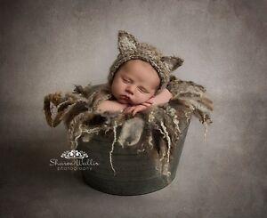 Oatmeal Kitten Fluffy Bonnet hat. Photography prop. Newborn. Baby shower