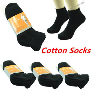 Black-6-Pairs-Ankle-Quarter-Crew-Mens-Socks-Cotton-Low-Cut-Size-10-13-Sports