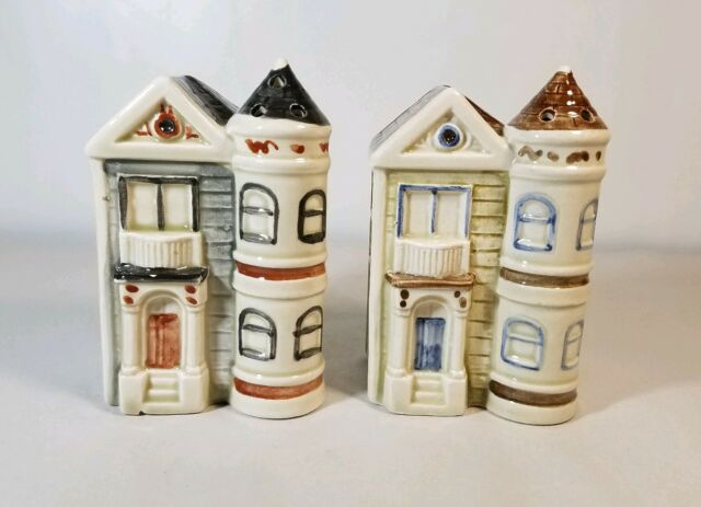 OMC Otagiri Victorian House Salt and Pepper Shakers 1981 Collectible Decor