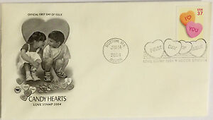 100-USPS-PCS-Candy-Hearts-2004-37c-Stamp-FDC-3833-First-Day-Issue-NEW