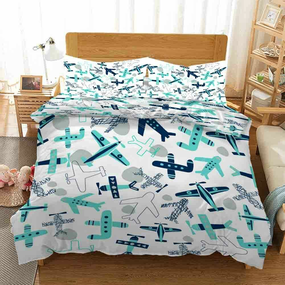 Blau Dot Aircraft 3D Druckening Duvet Quilt Will Startseites Pillow Case Bettding Sets