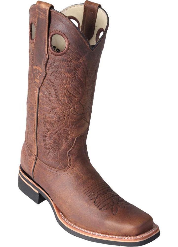 Los Altos HONEY dedo del pie cuadrado de 2 Oeste Rodeo botas De Vaquero Cuero Genuino + Extra Ancho