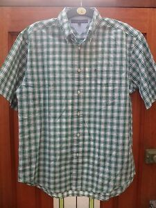 Mens Tommy Hilfiger Green+White Cotton Check Shirt UK Large,Loose Fit
