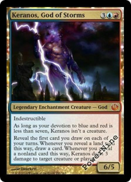 1 FOIL Keranos, God of Storms - gold Journey into Nyx Mtg Magic Mythic Rare 1x x