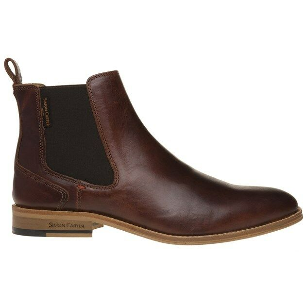 New Mens Simon Simon Simon Carter braun Elgar Leather Stiefel Chelsea Elasticated Pull On d40634