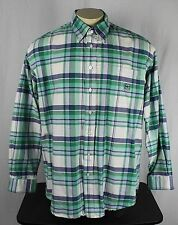 Cinch Western Miller Style Plaid Button Long Sleeve Cotton Shirt Green Mens XL