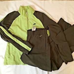 916bda5c5c77 Nike 2 Piece Polyester Track Wind Suit Pants Jacket Brown Green Size ...