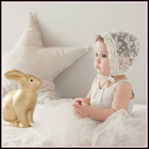 820929686 BABY GIRL- CHRISTENING BONNET HAT - EMBROIDERED VINTAGE LACE IVORY ...
