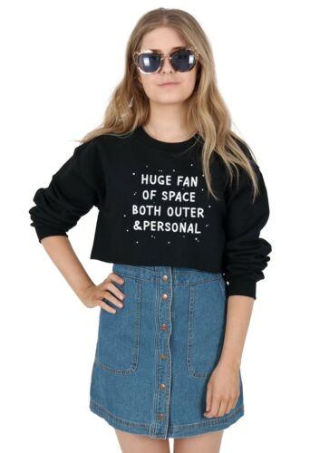 GRANDE fan di spazio entrambi esterni e personale Crop Sweater Maglione Top Tagliato Grunge