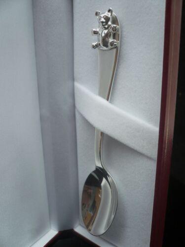 Sterling Silver Christening Spoon, New Born Baby, Teddy Bear, Hallmarked Gift