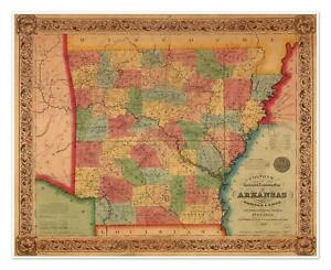 Arkansas World Map.Colton S Old Railroad Township State Map Of Arkansas Circ 1854