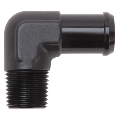 "Edelbrock Pipe Fitting 8165; NPT Hose Barb Adapter Black 1//2/"" NPT 90¡ 3//4/"" Hose"