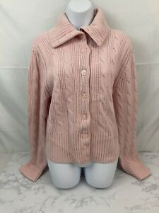 Tommy-Hilfiger-Long-Sleeve-Cardigan-Sweater-Womens-XL-Pink-Lambs-Wool-Button-P1