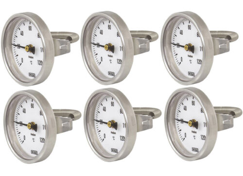 6x Wika Heizung Anlegethermometer Ø 63mm /> 120°C Feder Rohr-Thermometer Bimetall