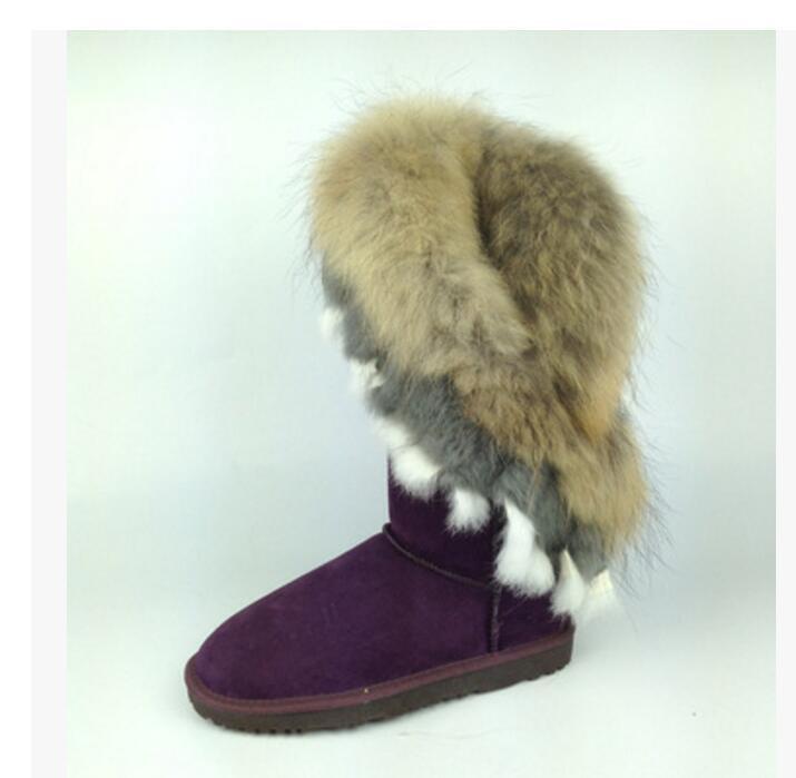 New Fashion Elegant Women's Leather Real Rabbit Fox Fur Mid Calf Boots 9 Color