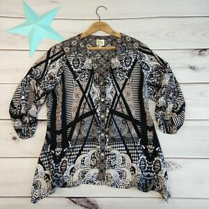 Anthropologie-Fig-and-Flower-Boho-Top-Size-L-Print-3-4-Roll-Tab-Sleeve-Popover