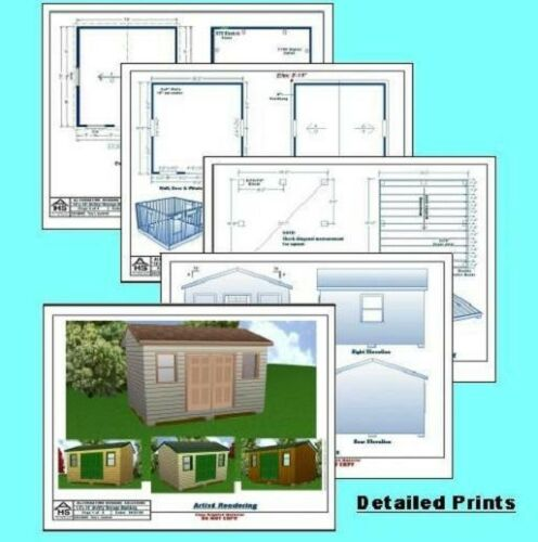 Material List /& Instructions Blueprints 12x16 Storage Shed Plans Package