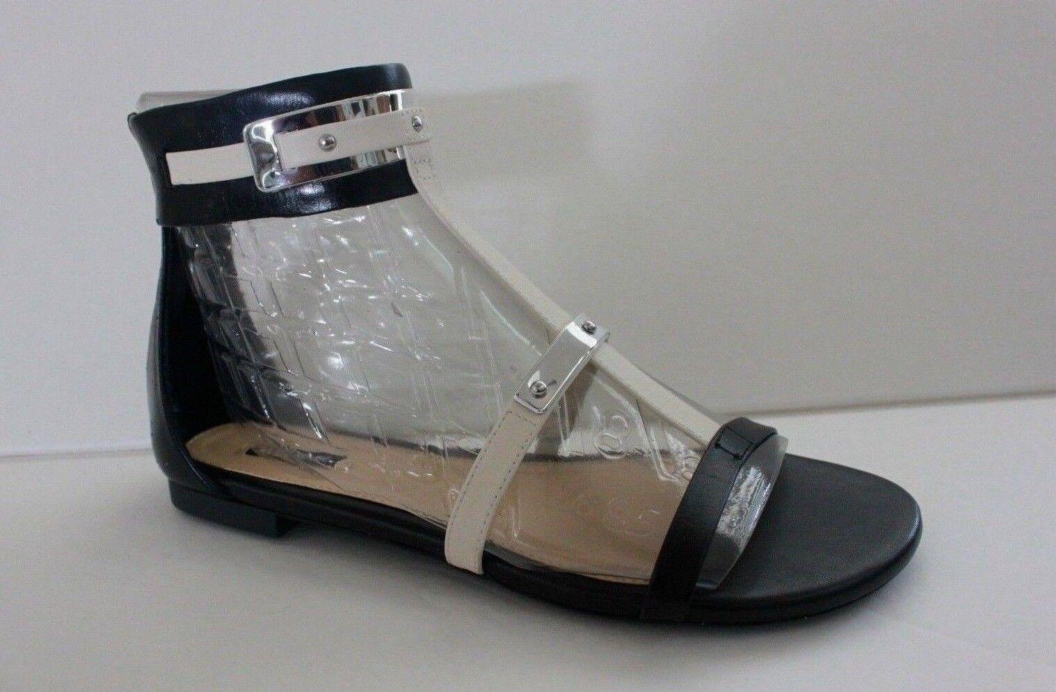 Alex Marie Femme Chaussure Taille 8 M Noir en Cuir Blanc Sandales Plates Chaussure NEW IN BOX