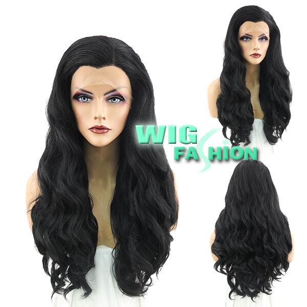 """24"""" Long Wavy Jet Black Lace Front Wig Heat Resistant"""