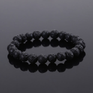 UK-Mens-Ladies-Black-Lava-Stone-Bead-Crystal-Gemstone-Bracelet-Root-Chakra