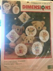 Dimensions-Sweet-Inspirations-Sealed-Crewel-Kit-6-Ornaments-1996-Teddy-Bears