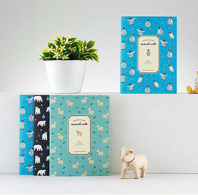 Animal Notebook [S] 3EA Set School College Journal Memo Note Cute Study Book