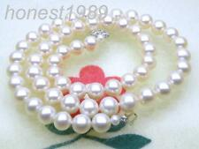 """EXCELLENT AAA+++ 7.5-8mm round white akoya pearl necklace 14k solid gold 17"""""""