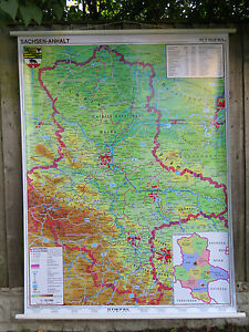 COOL PULL DOWN SCHOOL WALL MAP OF SAXONYANHALT GERMANY SACHSEN