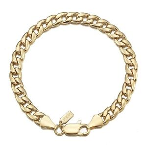 18K-Yellow-Gold-GL-Med-Curb-Solid-Mens-Women-039-s-Unisex-Bracelet-with-Clasp-18cm