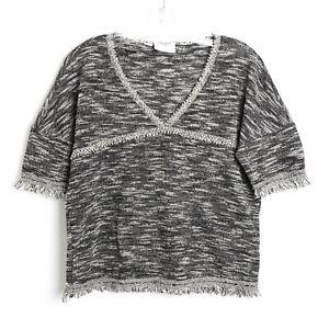 Vero-Moda-woven-fringe-black-gray-boho-blouse-short-sleeve-top-festival-M-medium
