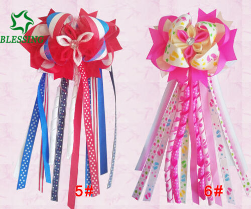 """50 BLESSING Girl 4.5/"""" Colorful Romance Ponytail Hair Bow Elastic Pony Streamers"""