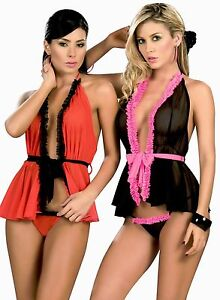 7018 Lady Sexy Black Red Baby Doll Teddy Lace LINGERIE Thong G ... 1ee6c0d82