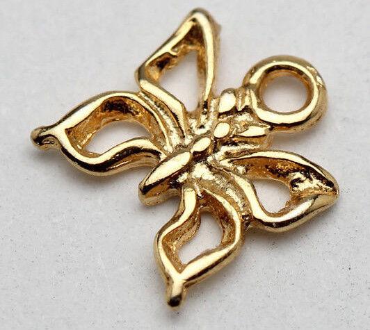 Nouveau 18K Or Jaune Pendentif Charme Argent Sterling papillon joli cadeau de Noël