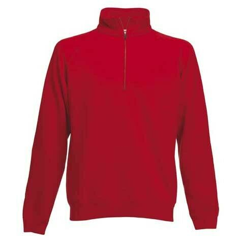 Fruit of the Looms PREMIUM Mens Plain Zip Neck RED Sweat Jersey Jumper XL