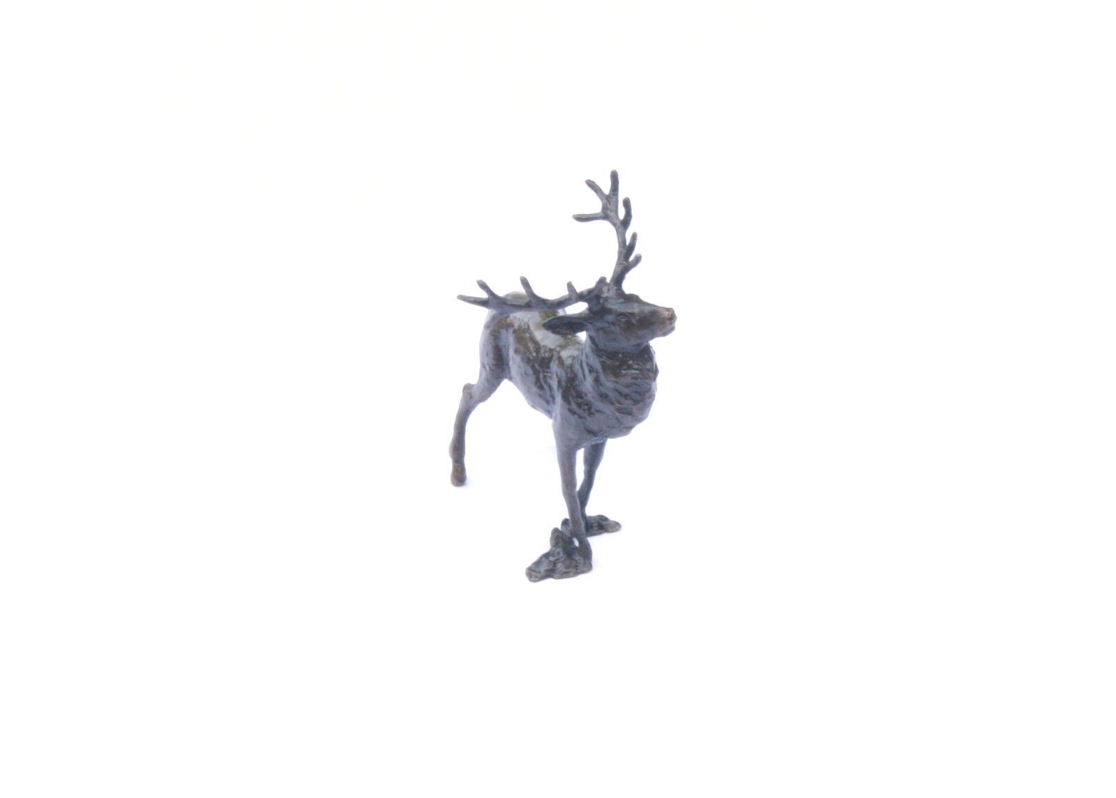 Stag Deer Solid Bronze Miniature Sculpture Butler and Peach Boxed 2050
